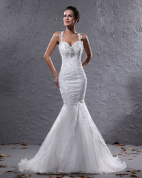 Wholesale New Style Sexy Strapless - Custom Design New Style Mermaid Strapless Wedding Dresses Organza Wedding Dress Gowns H561