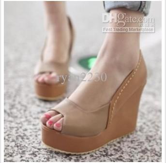 2013 New Fish Head Shoes Wedge Heel Waterproof Stylish Roman ...