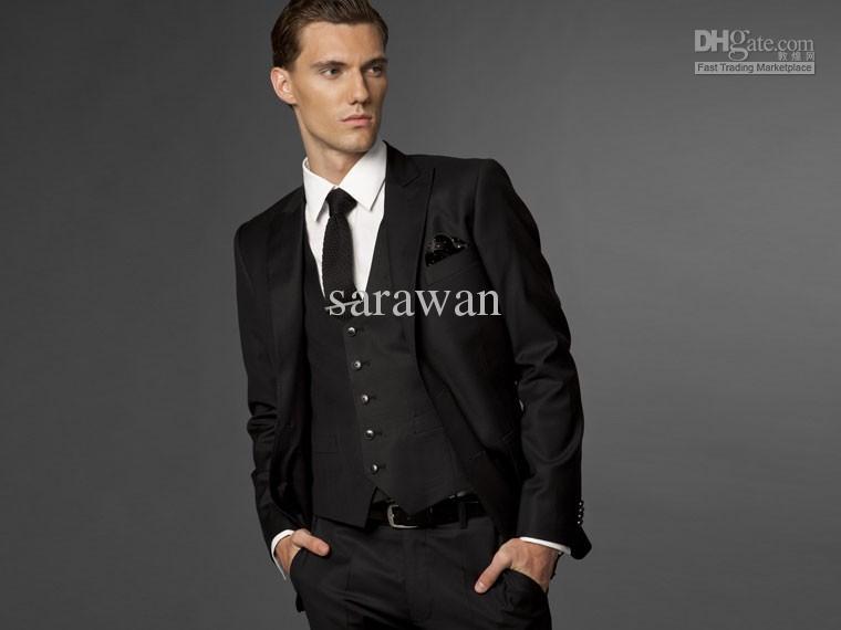 Custom Made To Measure Classic Black Groom Suits,Bespoke Tailored ...