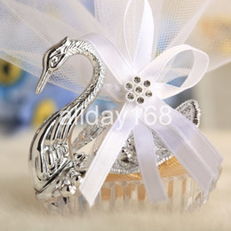 Wholesale White Tin Wedding Favors - Wedding Favors swan candy bags gift bags 24pcs lots