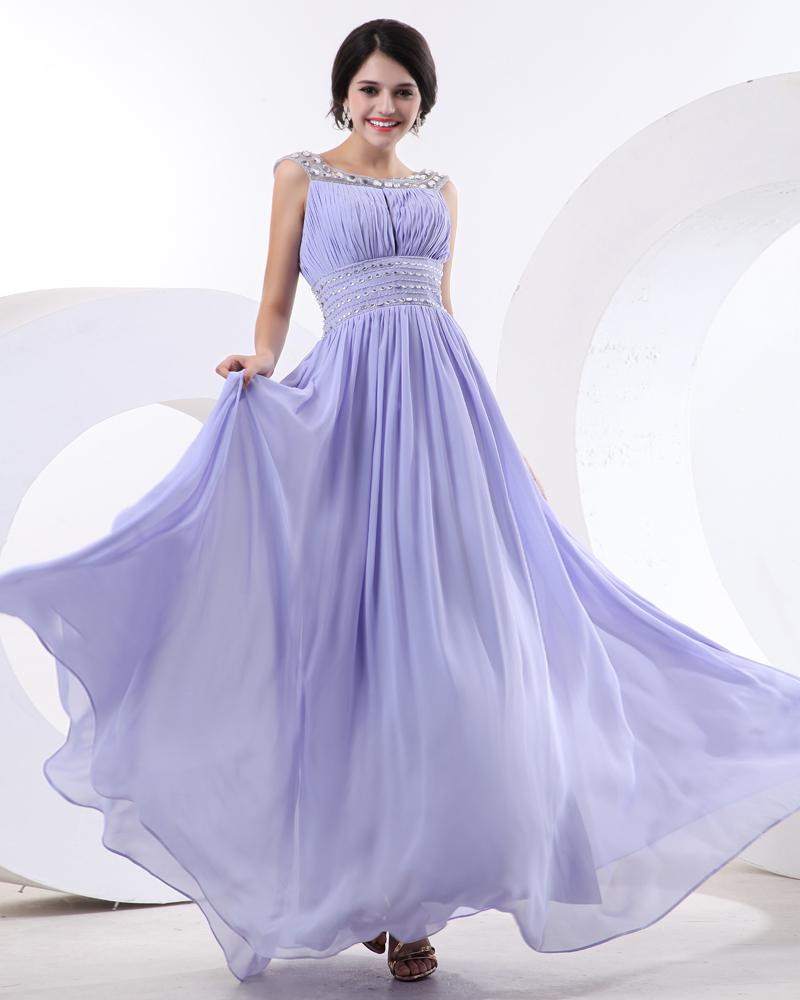 Custom Design New Style A Line Lilac Bridesmaid Dresses Chiffon Prom ...