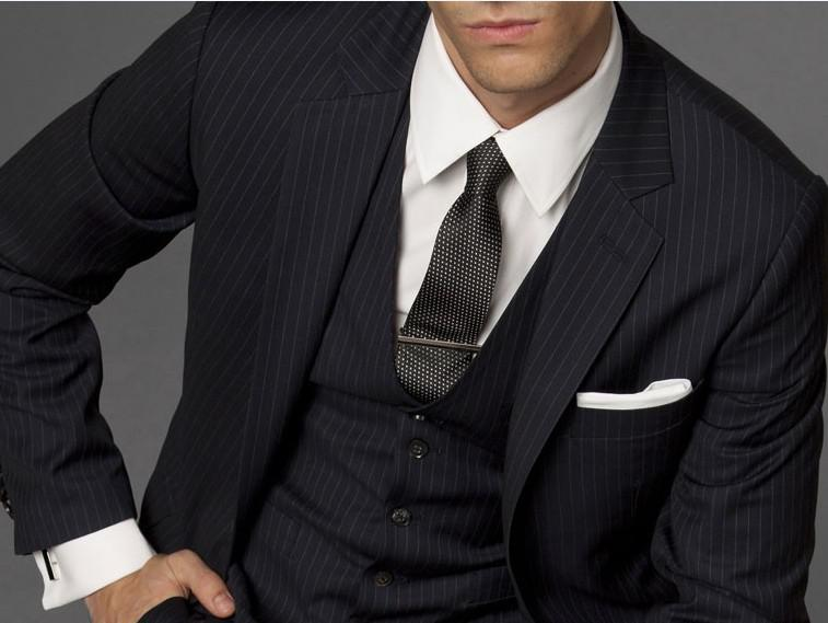 Custom Made To Measure Black Pinstripe Men Suits,Bespoke Tailored ...
