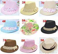 Wholesale Cowboy Hats Girls Pink - 20pcs* Kids Straw Fedora Hat Baby Summer Straw Cowboy Hat Boys Girls Straw Fedoras Baby Strawhat