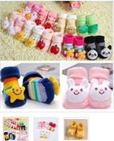 Wholesale Infant Cartoon Animal Socks - Baby Socks Antiskid floor socks with Cartoon Animals Decorated Cotton infant Shoe Socks Multi Colors