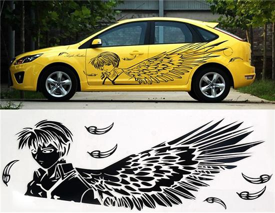Reflective Male Angel Pattern Pvc Car Decal Sticker Black - Car decal stickers