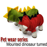 Wholesale Red Dinosaur Costume - Cute Pet Dog Cat Fall Winter Fancy DINOSAUR Clothe Dress Costume XS S M L XL Free shipping