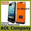 New product Portable Power Back Case Backup Charging Power External Battery 2200mah For Iphone 5 5G
