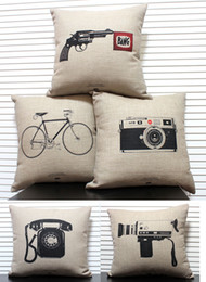 Wholesale Vintage Camera Cases - Free shipping novelty gift retro Sketch Vintage telephone camera gun bike pattern linen cotton cushion cover home decor throw pillow case