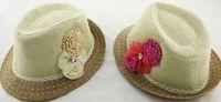 Wholesale Strawhat Fedoras - 5pcs lot Baby Flower Caps Hat Kids Straw Fedora Hat Girls Sun Hat Jazz Cap Baby Strawhat