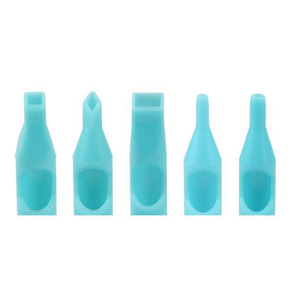 200 stks blauwe kleur wegwerp tattoo tips geassorteerde gemengde grootte voor tattoo geweer naald inkt beker grip kits