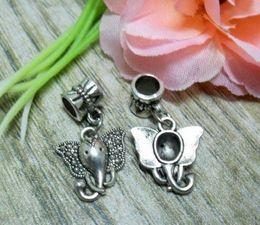 Wholesale Tibetan Silver Beads Elephant - 70Pcs Tibetan Silver Elephant Head Charm Hanging Beads fit Bracelet 27x15mm (002644)