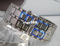 Amp Shipping hommes Watch rouge libre ;Bleu LED Metal lave Style Iron Samurai regarder OTSSW4518