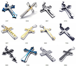 steel jewellery NZ - Pretty Gift High Quality Punk Cross Pendant Jewelry Stainless Steel Couple Necklace Intersect Fashion Jewelry For Man Male Woman Jewellery