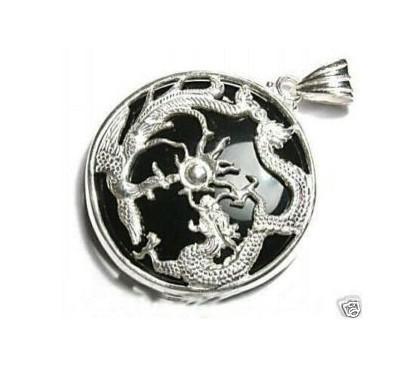 En gros pas cher exquise noir jade dragon d'argent pendentif + chaîne gratuite
