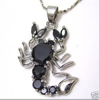 Wholesale Cheap Sterling Silver Jewellery - Wholesale cheap black crystal scorpion Jewellery Pendant + Free Chain