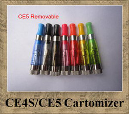 Wholesale E Liquid Colors - CE4 CE4S CE5 Cartomizer Clearomizer 8 colors removable long wick Heavy vapor no e-liquid leaking