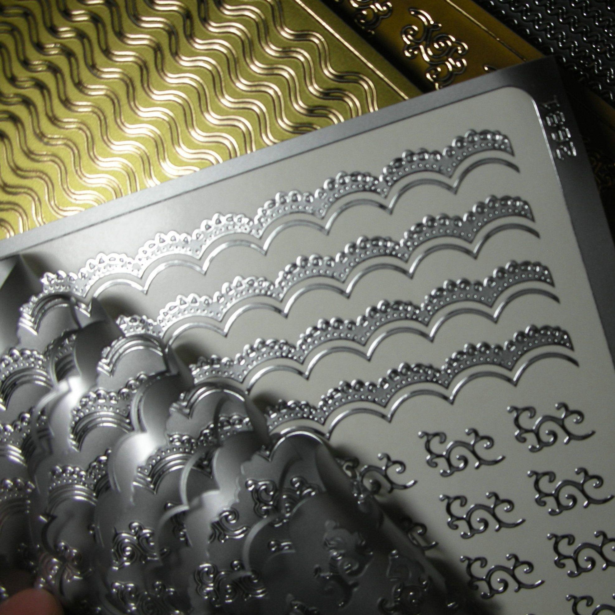 Nail Tattoo 18 Gold + 7 Silver + ed Metal Nail Decal Decals Metallic ...