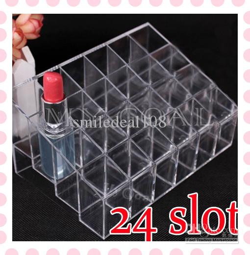 Cosmetic Organizer 24 Makeup Lipstick Storage Display Stand Case Rack Holder