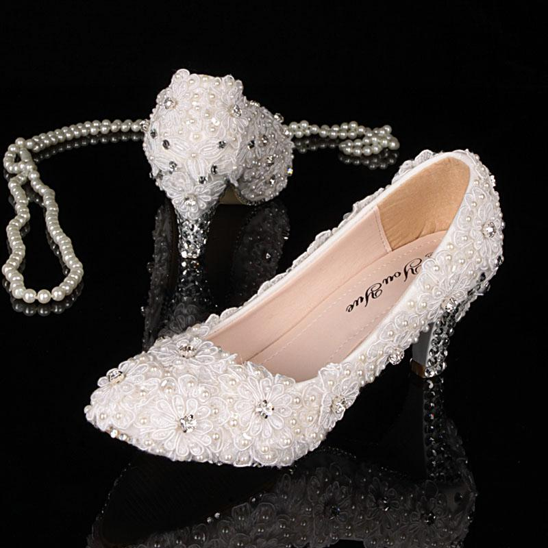 Charmant 2013 New White Lace Rhinestone Low Heels Pumps Lace Pearl Wedding Shoes  Crystal Bridal Shoes Party H High Heel Shoes Mens Casual Shoes From  Lilya0507, ...