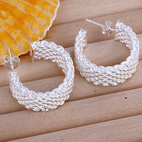 Wholesale Wholesale Fashion Mesh Hoop Earrings - New Fashion Jewelry 925 Silver Mesh Network Charms Women's Circle Earrings 30pairs Free Shipping