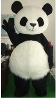 panda fantasia venda por atacado-BRANCO PANDA URSO Traje Da Mascote Fancy Party Dress dance Adulto Tamanho Terno Animal