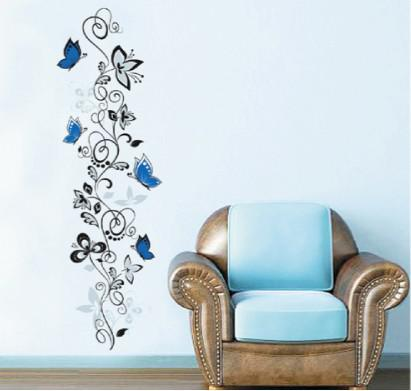 Wall Decor Decals removable blue butterflies and vines flower wall stickers decals