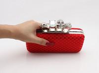 anillo de embrague rojo al por mayor-Tipo-4 Red Ladies Skull Clutch Knuckle Anillos Cuatro dedos Bolso bolso de noche Bolso de boda 03918b