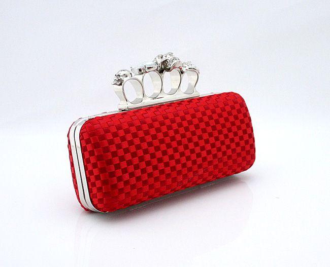 Tipo-4 Vermelho Senhoras Crânio Knuckle Rings Quatro Dedos Bolsa Bolsa Da Noite Bolsa de Casamento 03918b