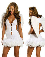 Бесплатная доставка! Sexy Halloween Costumes Party White Angel Costume Cosplay Dress with Wing Women Costumes 2223