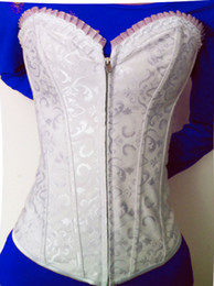 Full Steel Boned Corsets Canada - Free shipping! Embroidered Feminine Zipper Front Corset White Sexy Full Steel Boned Corsets Lace Back Wholesale And Retail 9009