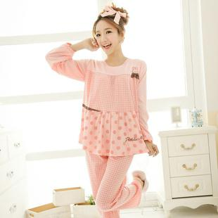 410673bc587d 2019 Pretty Girl Pajamas Set In Pink   Khaki Fashion Women Sleepwear Lady  Pyjamas Set P6827 From Streamline