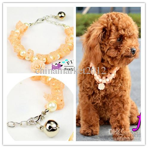 Frete grátis pet dog puppy necklace com rose pink pearl bell tamanho ajustável S / M / L 10 pçs / lote