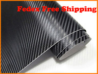 Wholesale Flexible Mirror Doors - 1.27m*30m roll Black color 3D Carbon Fiber Flexible Vinyl Film Car Decorative and Protective Wrapping Sticker with Free Gift Film Squeegee