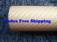 Wholesale Mirror Gold Vinyl Wrap - Gold color 3D Carbon Fiber Flexible Vinyl Film Car wrapping Sticker 1.27m*30m roll Fedex Free shipping with Free Gift Film Squeegee