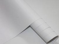углеродная пленка белая оптовых-3D углеродного волокна гибкая виниловая пленка обернуть автомобиль наклейка для украшения автомобиля и защиты белый цвет 1.27 м * 30 м с бесплатной подарочной пленки ракеля