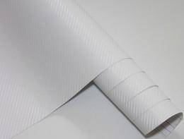 Carbono, fibra, vinil, branca, car on-line-3D Fibra De Carbono Flexível Vinyl Film envoltório Etiqueta Do Carro para o Carro Decoração e proteção Cor Branca 1.27 m * 30 m com Rolo de Filme de Presente Livre