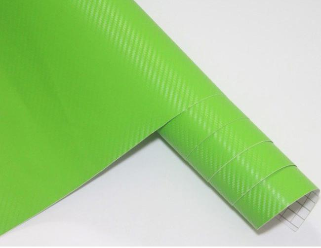 Green color 3D Carbon Fiber Flexible Vinyl Film Car wrapping Sticker 1.27m*30m/roll Fedex with Free Gift Film Squeegee
