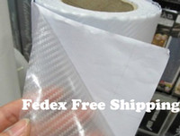 Wholesale Transparent Carbon Fiber Vinyl - 3D Carbon Fiber Flexible Vinyl Film wrap Car Sticker Transparent Color 1.27m*30m Fedex Free shipping with Free Gift Film Squeegee