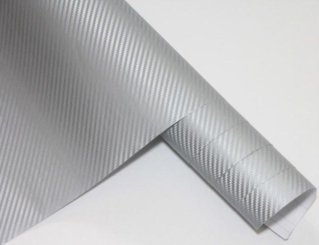 Silver color 3D Carbon Fiber Flexible Vinyl Film Car wrapping Sticker 1.27m*30m/roll Fedex Free shipping with Free Gift Film Squeegee