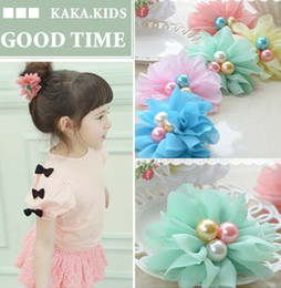 Wholesale Baby Centre - Baby Girls Chiffon Flower Petals Pearl Centre Hair Bows Baby Kids Girl Floral Hair Accessory 7682