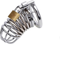 Wholesale Sex Padlock Chastity - Wholesale - Male chastity device Steel Chastity Cock Penis Cage with Ring & Padlock sex product