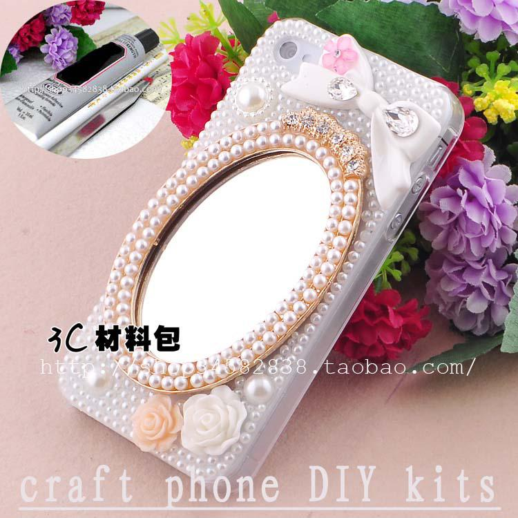 2019 3d Luxurious Pearl Mirror Rhinestone Art Craft Cellphone Mobile