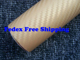 Wholesale Vinyl Wrap Gold Film - Gold color Car wrapping Foil Vinyl Film Sticker sheet 3D Carbon Fiber with air channels Size 1.52m*30m 60m lot with Free Gift Film Squeegee
