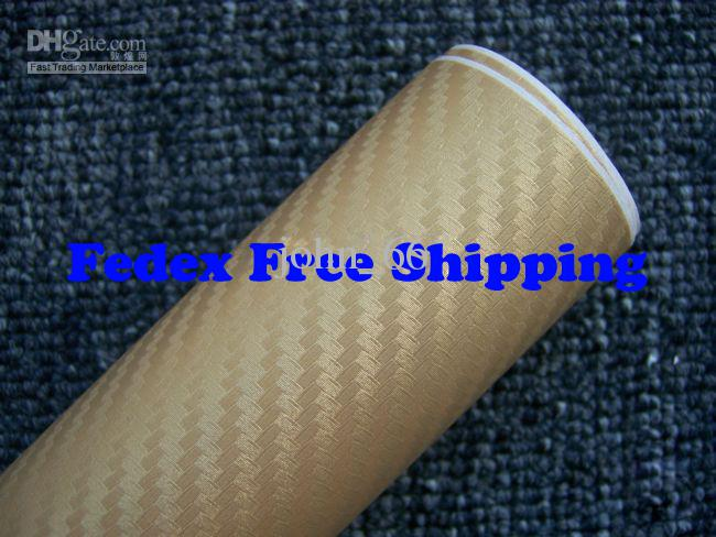 Gold color Car wrapping Foil Vinyl Film Sticker sheet 3D Carbon Fiber with air channels 1.52m*30m Fedex with Free Gift Scraper