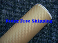 Wholesale Vinyl Wrap Gold Film - Gold color Car wrapping Foil Vinyl Film Sticker sheet 3D Carbon Fiber with air channels 1.52m*30m Fedex Free shipping with Free Gift Scraper