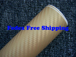 Wholesale Air Free Vinyl Wrap - Gold color Car wrapping Foil Vinyl Film Sticker sheet 3D Carbon Fiber with air channels 1.52m*30m Fedex Free shipping with Free Gift Scraper