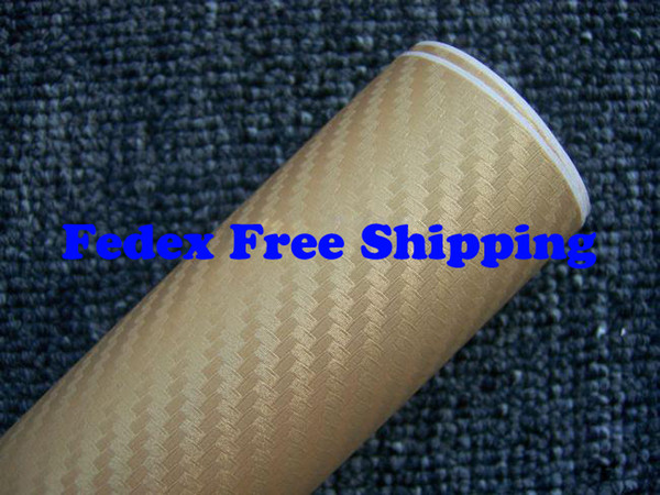 Gold color Car wrapping Foil Vinyl Film Sticker sheet 3D Carbon Fiber with air channels 1.52m*30m Fedex Free shipping with Free Gift Scraper