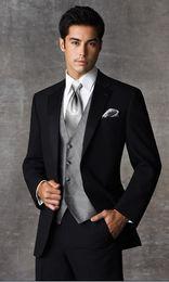 Wholesale Satin Groom Vests - Custom Made Two Buttons Black Groom Tuxedos Notch Satin Lapel Groomsmen Men Wedding Suits(Jacket+Pants+Tie+Vest)H573