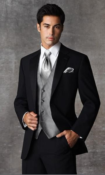 Custom Made Two Buttons Black Groom Tuxedos Notch Satin Lapel Groomsmen Men Wedding Suits(Jacket+Pants+Tie+Vest)H573