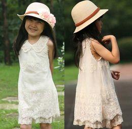 Wholesale Down Lining - Girls Pearl Collar Lace Dresses Fashion Sleeveless Princess Dress White Dresses Kids Summer Dress